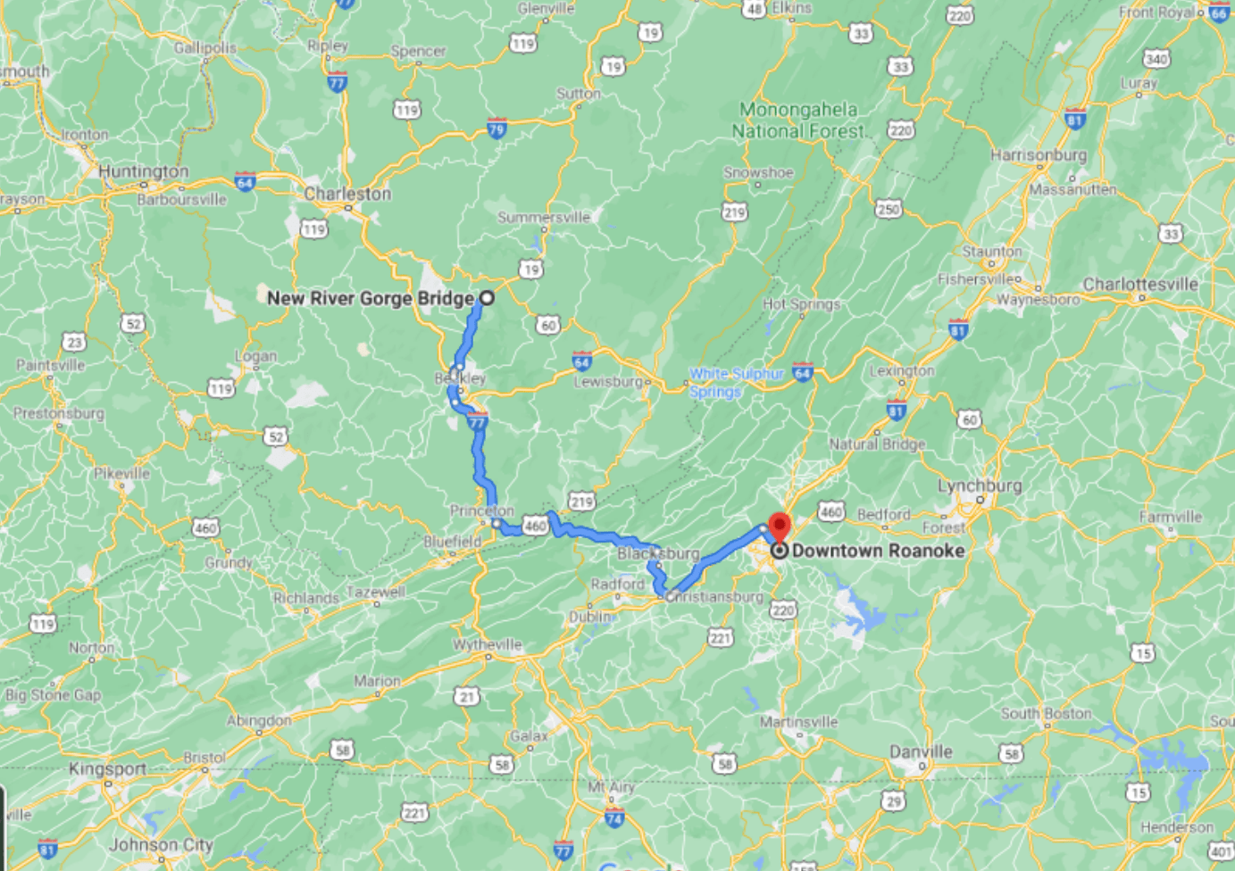 Road Trips From Roanoke - New River Gorge - Google Maps